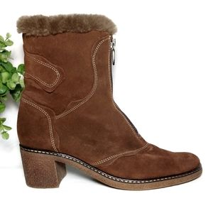 Aquatalia Suede Fur Lined Boots Brown